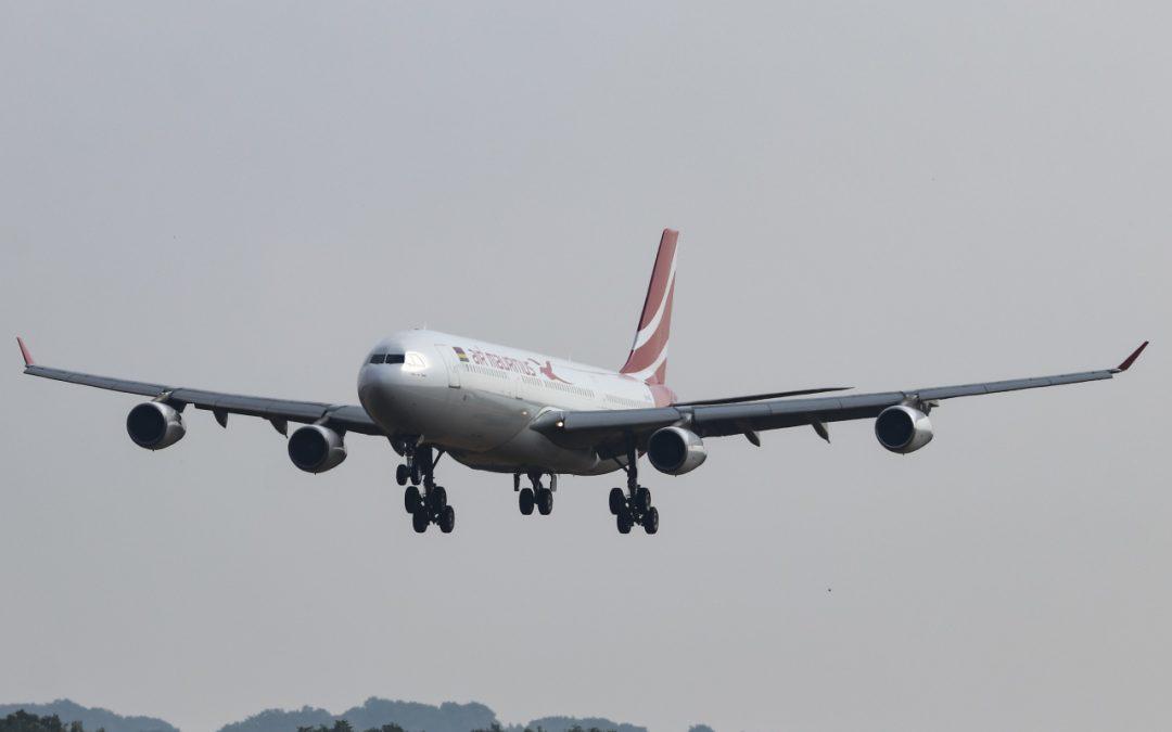 laatste Air Mauritius A340 geland.